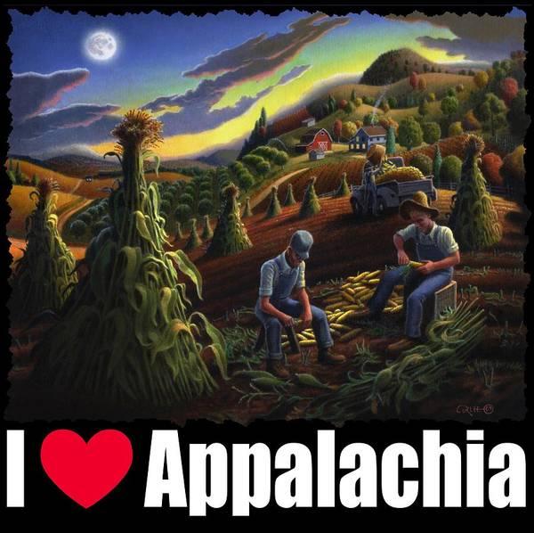 Husk Painting - I Love Appalachia T Shirt - Farmers Shucking Corn Til Sunset 2 - Rural Appalachian Landscape by Walt Curlee