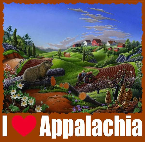 Alabama Hills Painting - I Love Appalachia T Shirt - Spring Groundhog - Country Farm Landscape by Walt Curlee