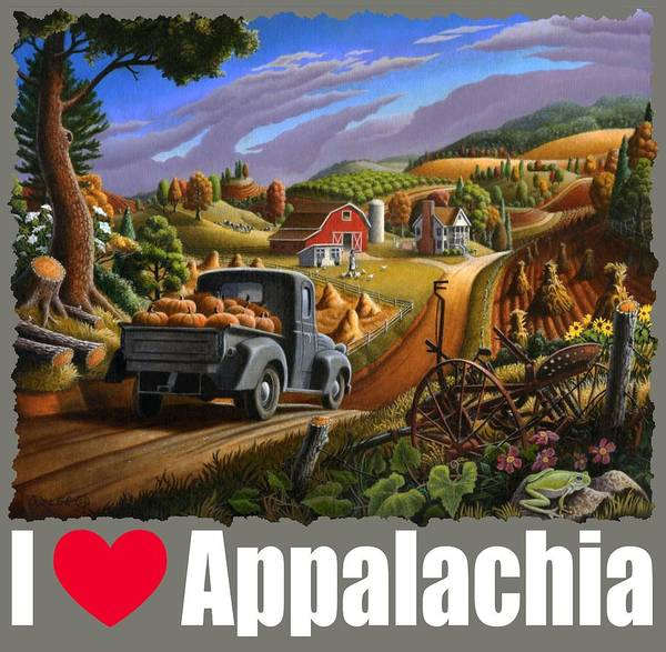 Up North Painting - I Love Appalachia T Shirt - Taking Pumpkins To Market - Rural Appalachian Landscape 2 by Walt Curlee