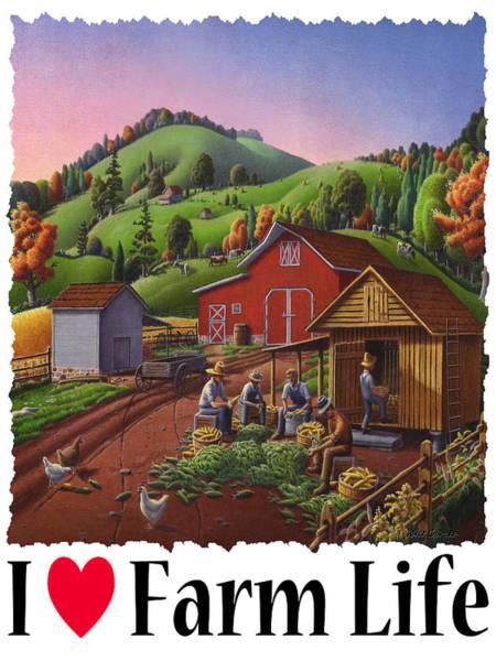 Husk Painting - I Love Farm Life - Farmers Shucking Corn - Corncrib - Corn Crib - Farm Landscape 2 by Walt Curlee