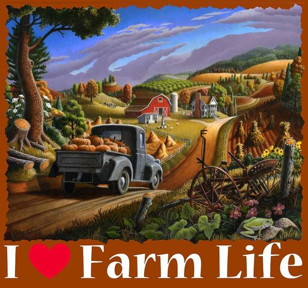 Up North Painting - I Love Farm Life Shirt - Taking Pumpkins To Market - Farm Landscape by Walt Curlee