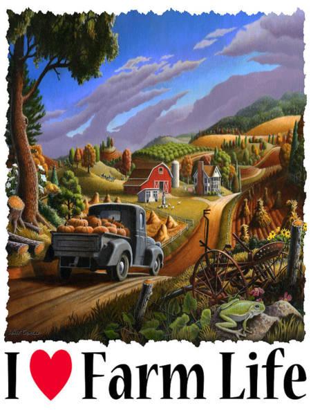 Up North Painting - I Love Farm Life - Taking Pumpkins To Market - Appalachian Farm Landscape by Walt Curlee