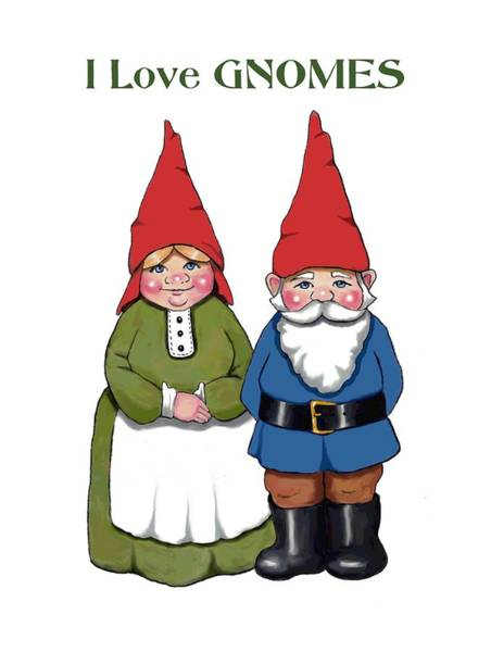 Wall Art - Mixed Media - I Love Gnomes by Joyce Geleynse