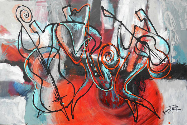 Wall Art - Painting - I Love Jazz by Leon Zernitsky