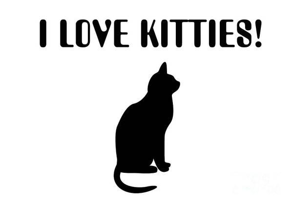 Wall Art - Digital Art - I Love Kitties In Black by Andee Design