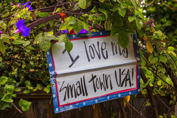 Wall Art - Photograph - I Love My Small Town Sign by Garry Gay