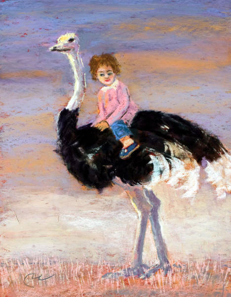Wall Art - Painting - I Love My Very Own Ostrich by Cheryl Whitehall