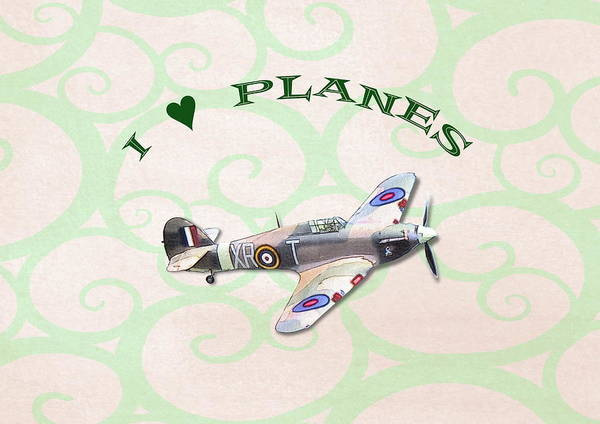 Digital Art - I Love Planes - Hurricane by Paul Gulliver