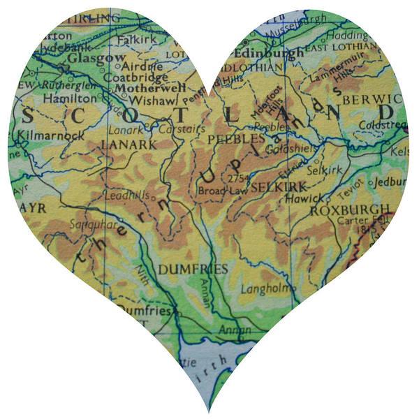 Road Map Photograph - I Love Scotland Heart Map by Georgia Fowler