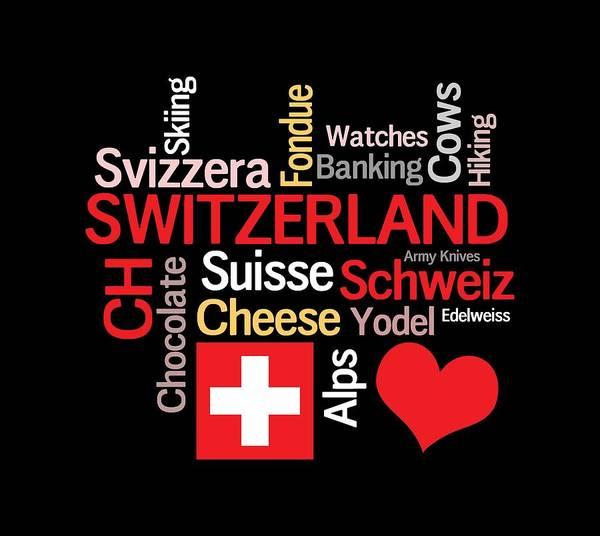 Wall Art - Digital Art - I Love Switzerland by Antique Images