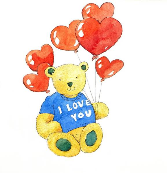 Teddy Bear Painting - I Love You Bear by Jennifer Abbot