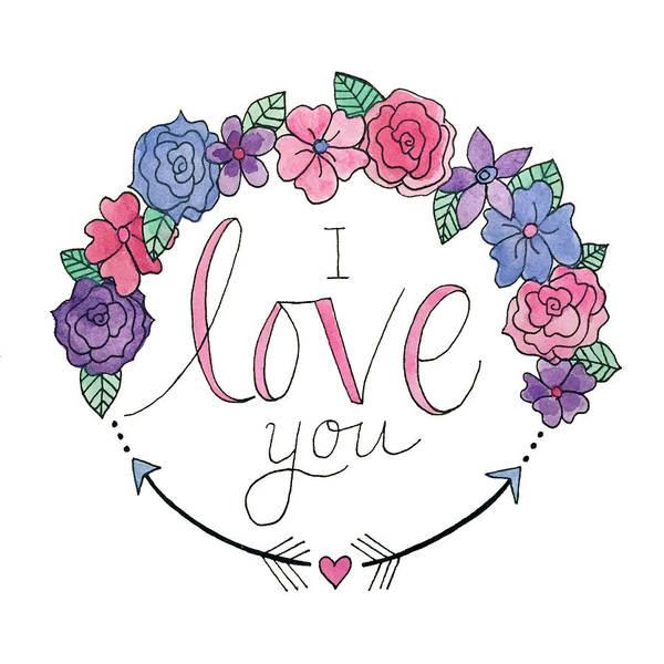 Arrow Wall Art - Painting - I Love You by Elizabeth Davis