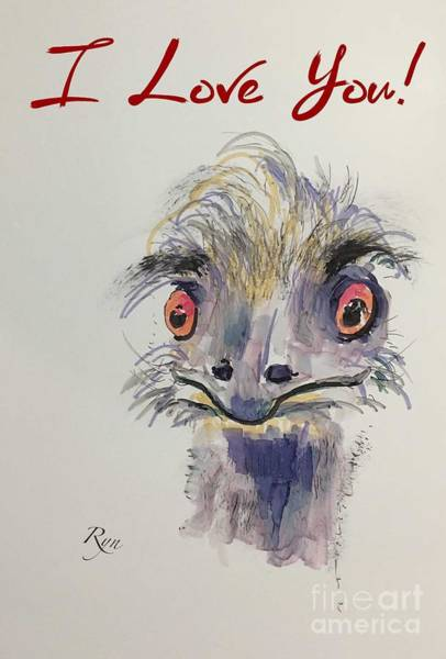Drawing - I Love You, Emu by Ryn Shell