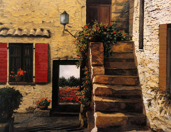 Stairs Painting - I Papaveri Attraverso La Porta by Guido Borelli