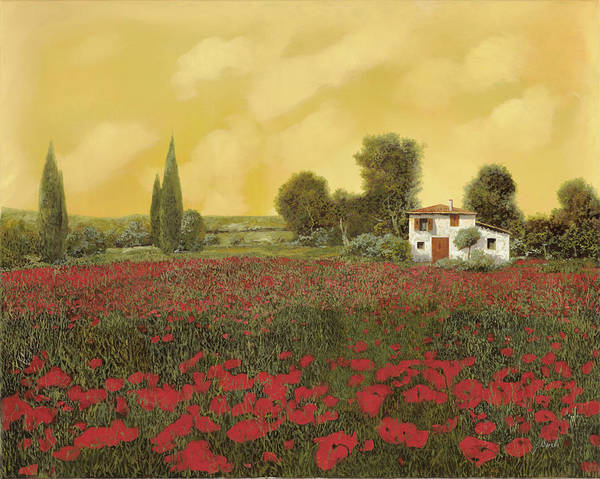 Tuscany Landscape Wall Art - Painting - I Papaveri E La Calda Estate by Guido Borelli