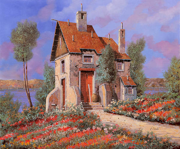 Lake House Painting - I Prati Rossi by Guido Borelli