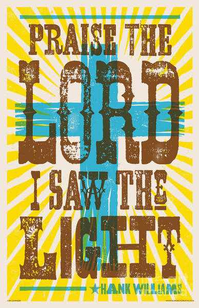 Wall Art - Digital Art - I Saw The Light Lyric Poster by Jim Zahniser