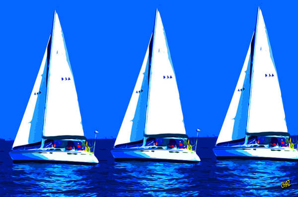 Impressionistic Sailboats Painting - I Saw Three Ships A'sailing by CHAZ Daugherty