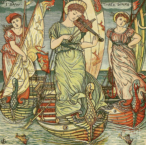 Wall Art - Painting - I Saw Three Ships by Walter Crane