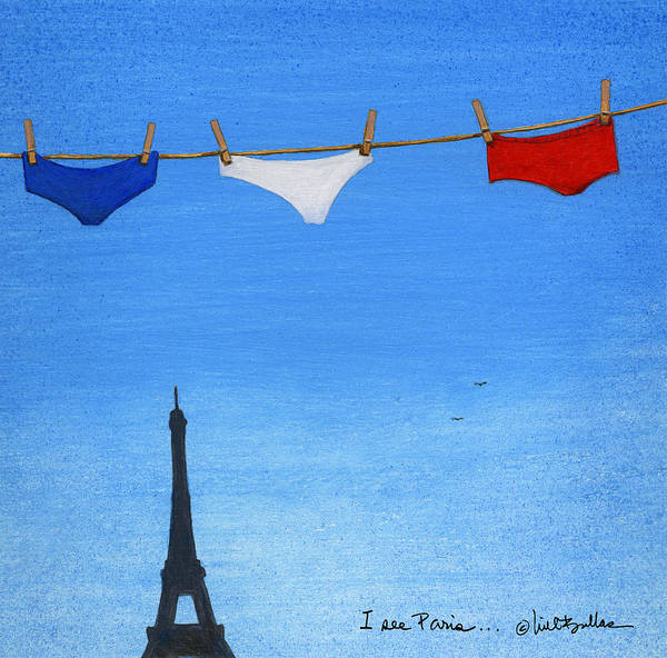 Clothesline Painting - I See Paris... by Will Bullas