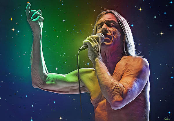 Iggy Pop Wall Art - Digital Art - I See The Stars Come Out Tonight, Iggy Pop by Mal Bray