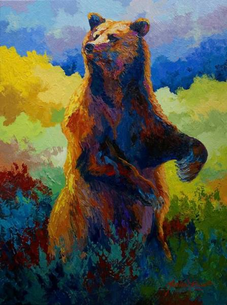 Wall Art - Painting - I Spy - Grizzly Bear by Marion Rose