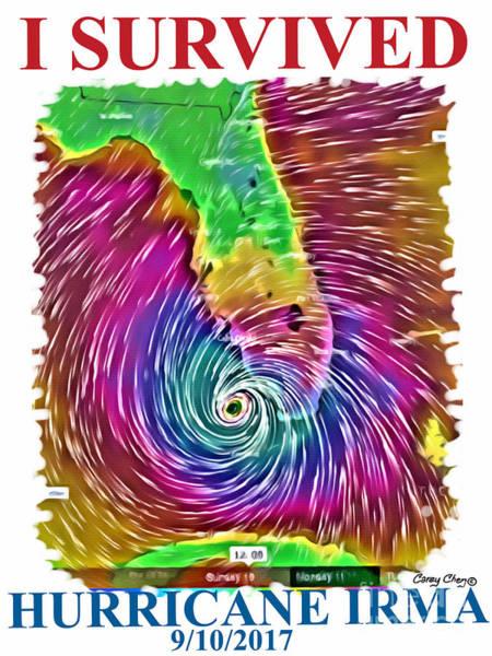 Usvi Wall Art - Digital Art - I Survived Hurricane Irma by Carey Chen