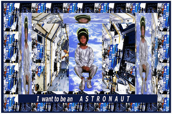 Space Ship Mixed Media - I Want To Be An Astronaut  Kids Room Motivation Fineart Graphics by Navin Joshi
