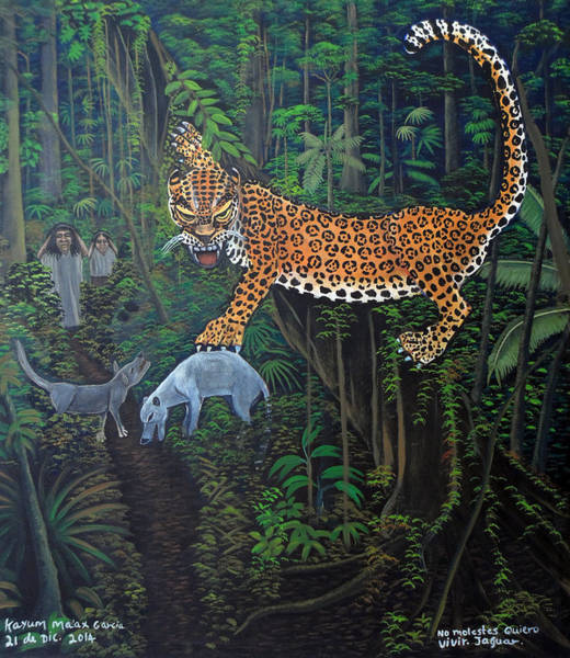 Wall Art - Painting - I Want To Live Jaguar by Kayum Ma'ax Garcia