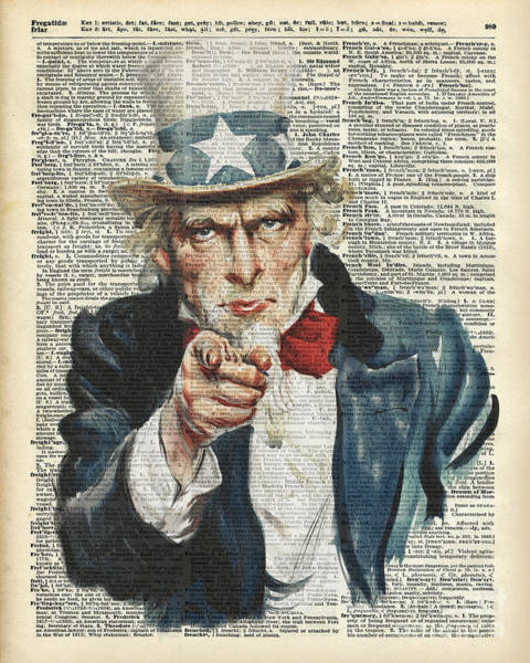 Uncle Sam Painting - I Want You Uncle Sam by Anna W