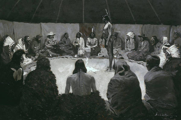 Indian Camp Painting - I Will Tell The White Man by Frederic Remington