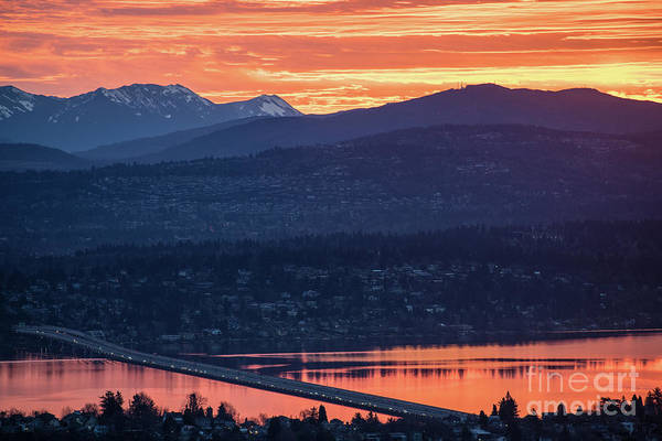 Seattle Skyline Photograph - I90 Eastside Sunrise Fire by Mike Reid