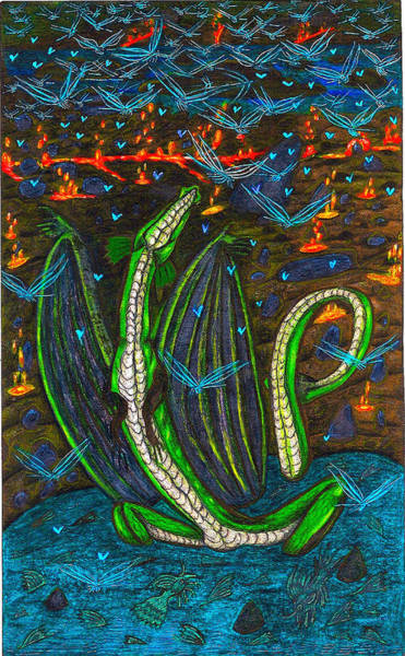 Lava Drawing - Iammyaza In His Lair by Al Goldfarb
