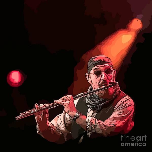 Wall Art - Painting - Ian Anderson Famous Scottish Flautist by John Malone