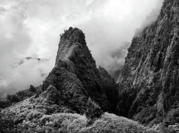 Photograph - Iao Valley Black And White by Christopher Johnson
