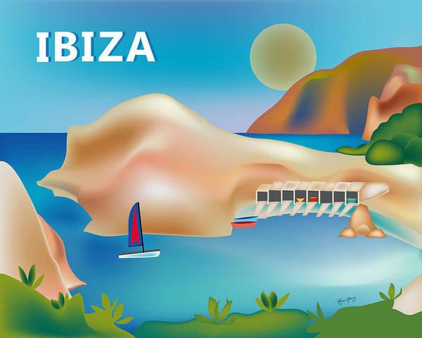 Wall Art - Digital Art - Ibiza Spain Horizontal Scene by Karen Young