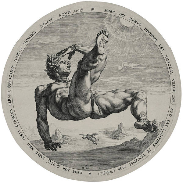 Drawing - Icarus From The Four Disgracers Series  by Hendrik Goltzius