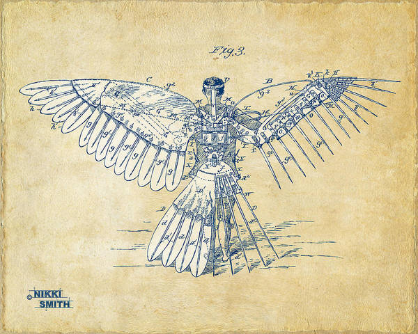 Digital Art - Icarus Human Flight Patent Artwork - Vintage by Nikki Smith
