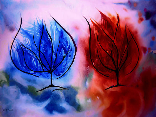 Painting - Ice And Fire Trees by Carol Crisafi