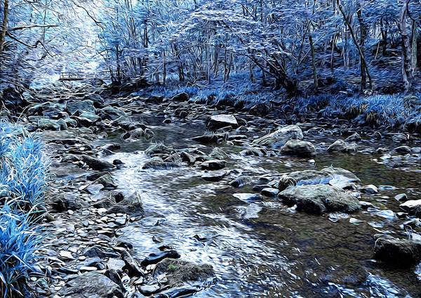 Gold Leaves Digital Art - Ice Blue Forest by Svetlana Sewell