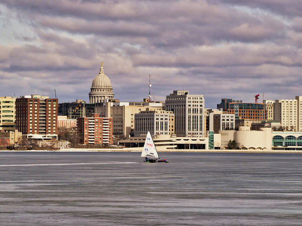 Photograph - Ice Boat And Capitol - Madison  - Wisconsin by Steven Ralser