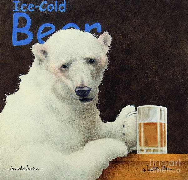 Wall Art - Painting - Ice-cold Bear... by Will Bullas