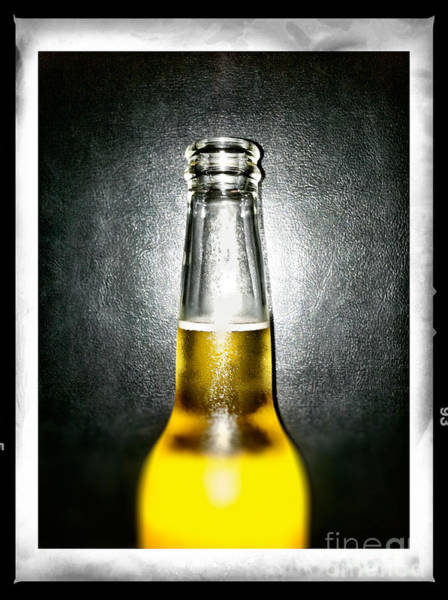 Photograph - Ice Cold Beer Bottle Against Black by Bryan Mullennix
