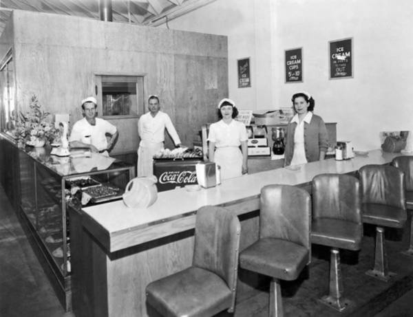 Wall Art - Photograph - Ice Cream Counter by Underwood Archives