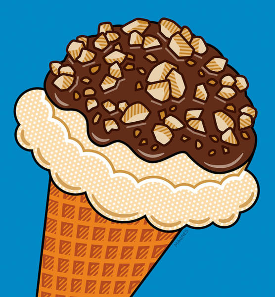 Ice Wall Art - Digital Art - Ice Cream On Blue by Ron Magnes
