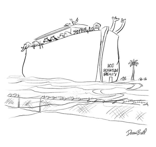 Global Warming Drawing - Ice Detention Facility by Darrin Bell