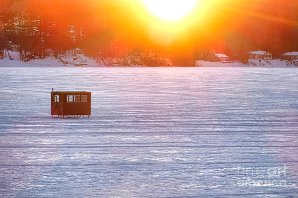 Photograph - Ice Fishing On China Lake by Olivier Le Queinec
