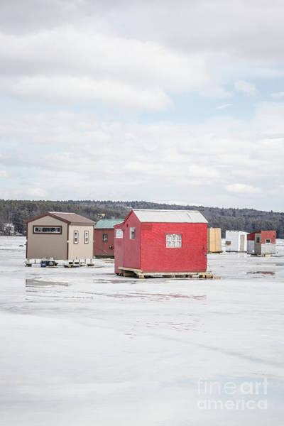 Wall Art - Photograph - Ice Fishing Shacks On Lake Winnipesaukee by Edward Fielding