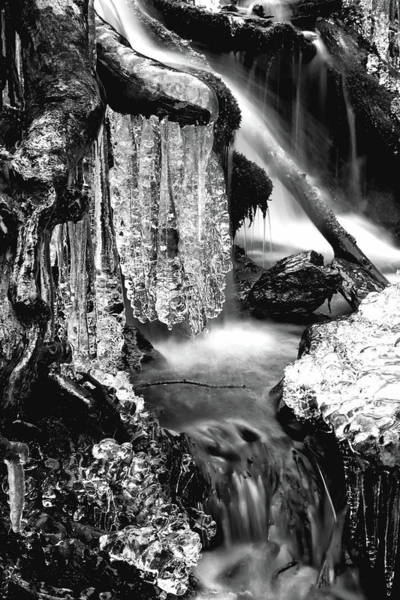 Photograph - Ice Formations I In Black And White by Carol Montoya