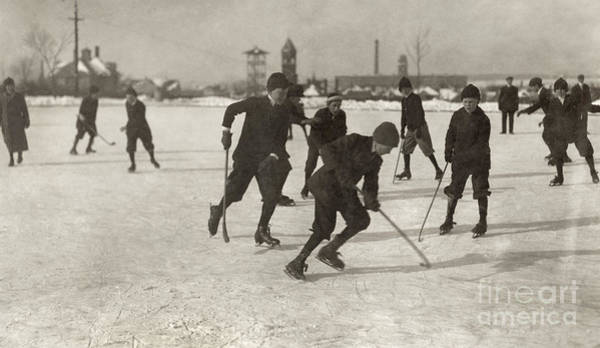 Young Boy Photograph - Ice Hockey 1912 by Granger
